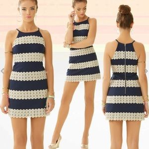 """LILY PULITZER """"ANNABELLE"""" NAVY & GOLD SHIFT DRESS"""